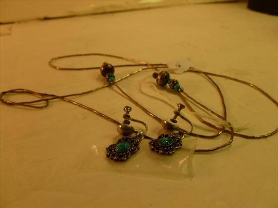 Sterling and Turquoise necklace earrings