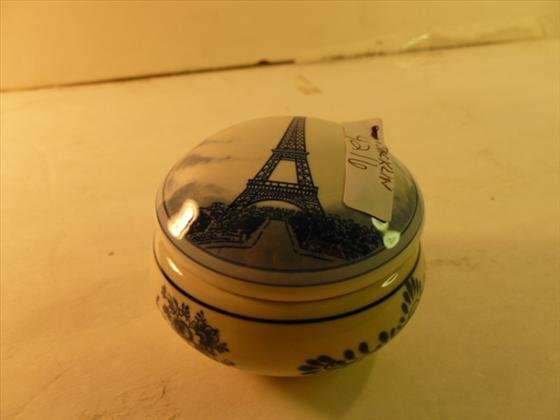 Blue and white round covered trinket box