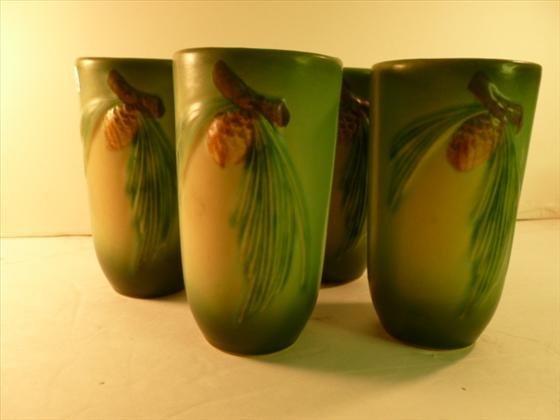 4 Roseville Pinecone green glasses/mugs