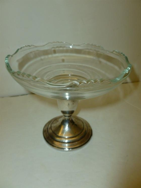 Sterling and glass compote