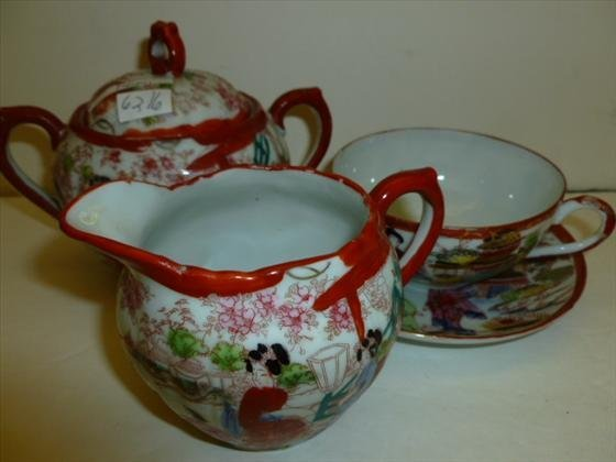 3 pc set - creamer sugar and cup and saucer
