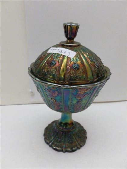 Fenton  glass pedestal covered dish