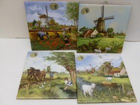 Four Porcelain Tiles - Holland Scenes