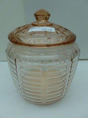 Pink depression glass biscuit jar