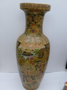 Royal Satsuma Oriental Floor Vase