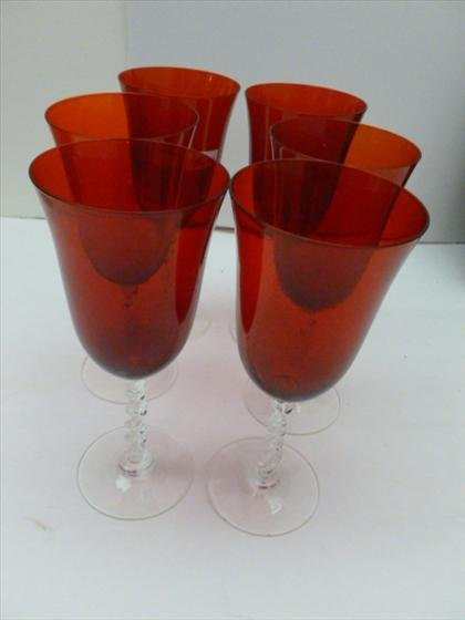 Set of six red stemware wine glasses