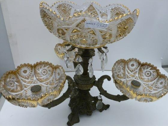 large centerpiece for the table glass and metal