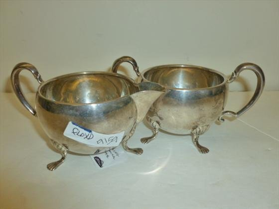 2 pc Sterling creamer and sugar