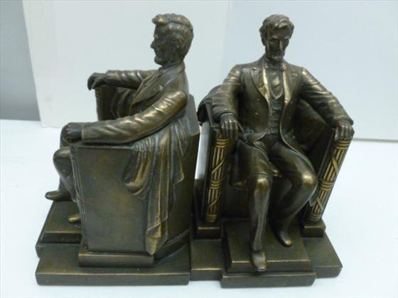 Pair brass bookends -  Abe Lincoln
