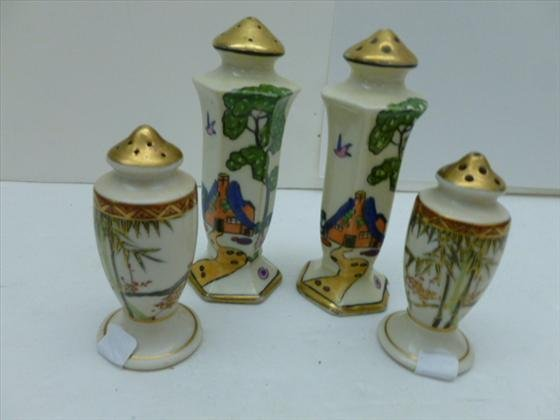 2 pair hand painted oriental salt and peppers sets