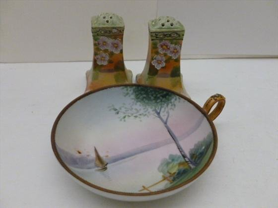 3 pc Hand painted Nippon salt and pepper set