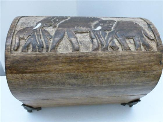 Wood carved hump top box with 3 elephants