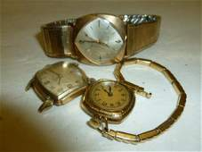 7382: 3 gold filled men's and ladies watches