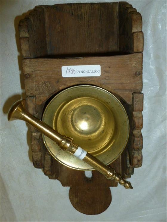 Pine rack with brass Mortar and Pestle