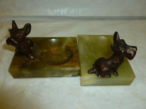 Pair green onyx trinket dishes with brass Scotty dog