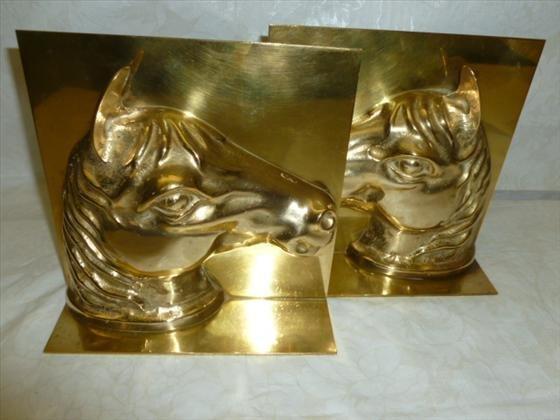 Pair brass horse head book ends