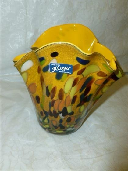 Art glass fluted top vase  by Alicja Poland