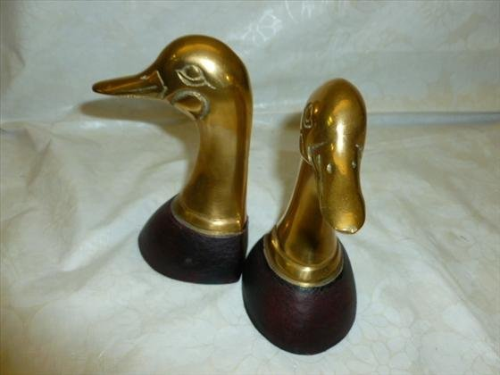 Pair brass and wood duck head bookends