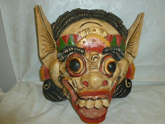 Solid one piece carved wood multi colored mask