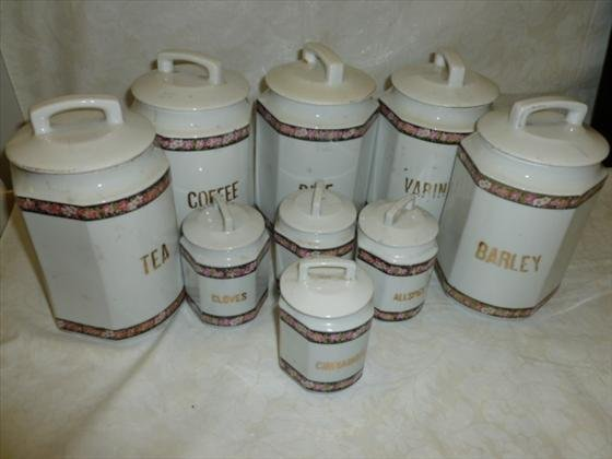 9 pc porcelain canister set-Made in Germany