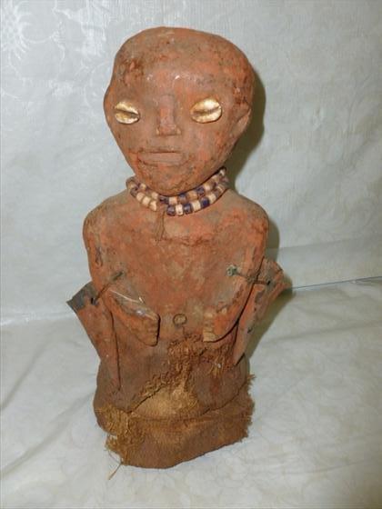 Songye Fetish carved wood and burlap