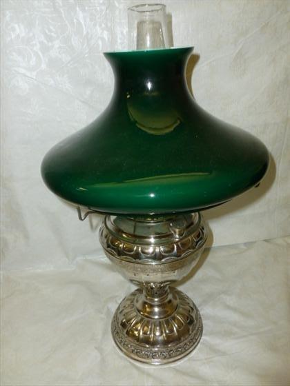 Victorian banquet lamp emerald green case