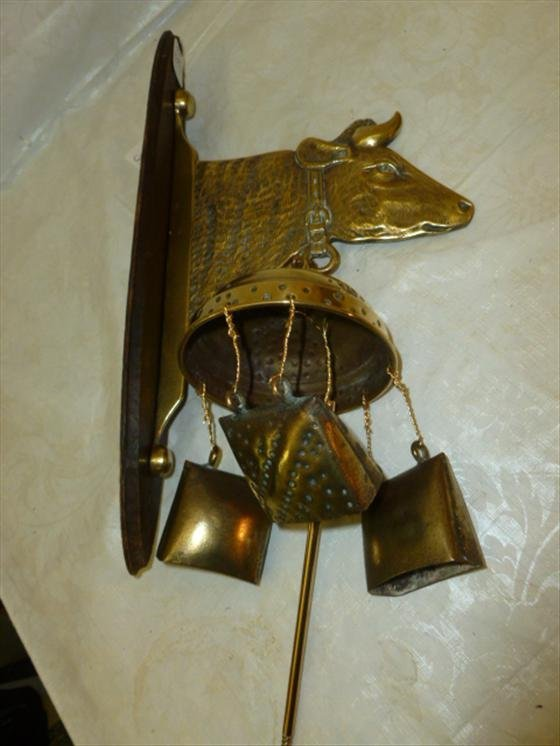 Wood and brass hanging cow bell with cow head for holde