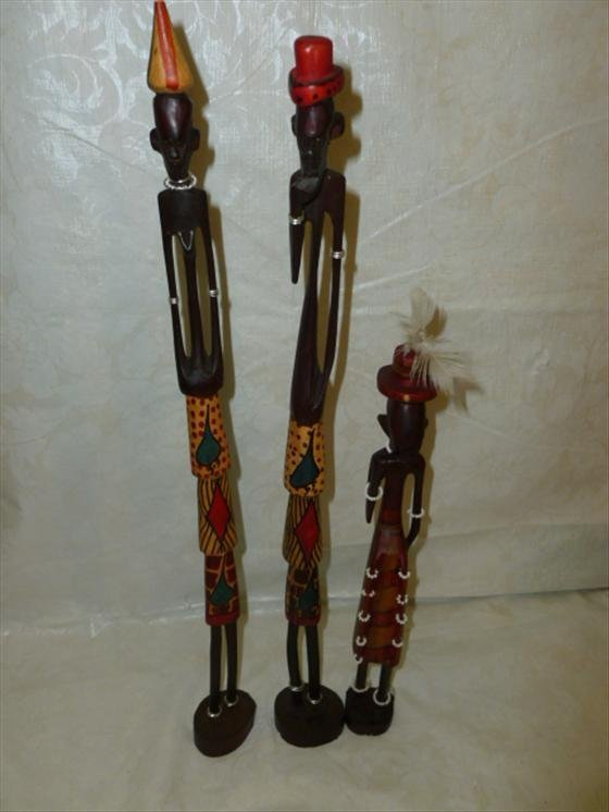 3 Hand carved and painted African art figures-made in K