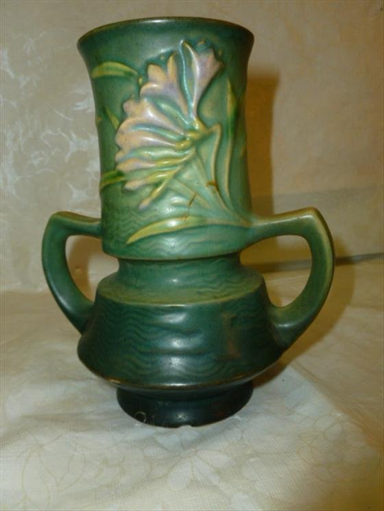 Roseville Pottery Freesia green vase with low handles