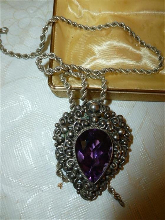 Large 800 silver pendant with amethyst stone