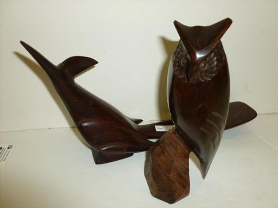2 pc- Arizona hard dark wood birds