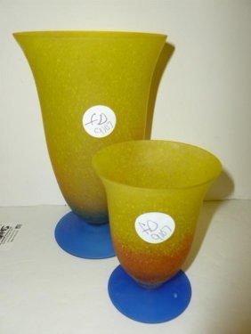 2 Piece Art Glass Vases