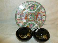 2 sets bowl and cover and plate Famille rose design
