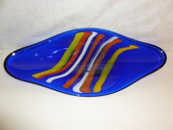 Art glass tray Svoboda glass Czech Republic