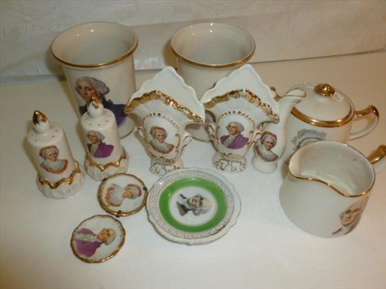 12 pc. Geroge and Martha Washington porcelian
