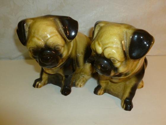 Pair polcelian pug dogs hollow inside