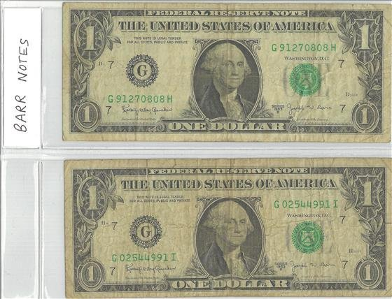 2 1963 Barr Federal Reserve Notes