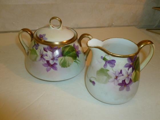 Creamer and sugar-Hand painted Nippon