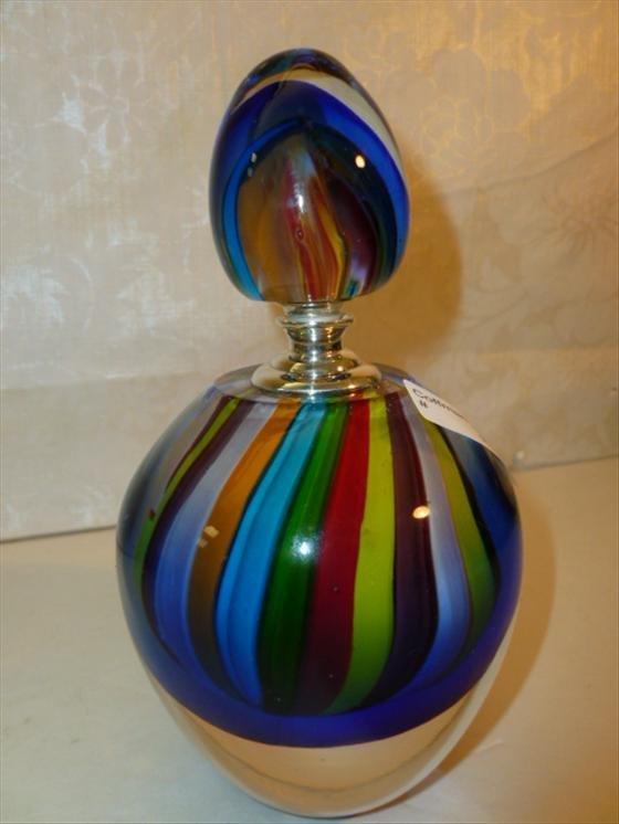 Murano glass perfume multi colored stripes screw in dab