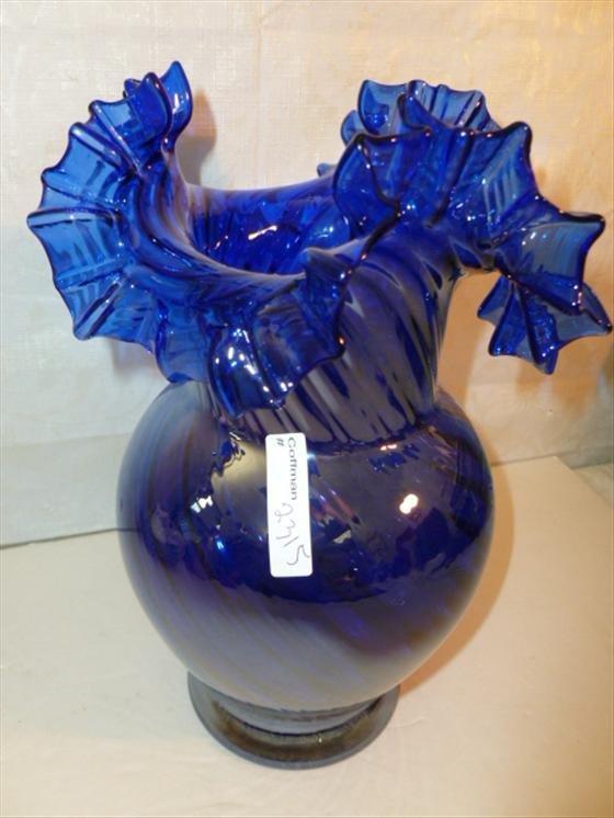 Murano glass cobalt blue iridized ruffled top vase