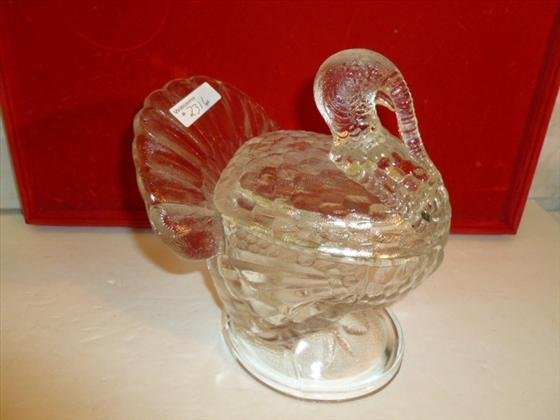 Clear glass covered turkey dish
