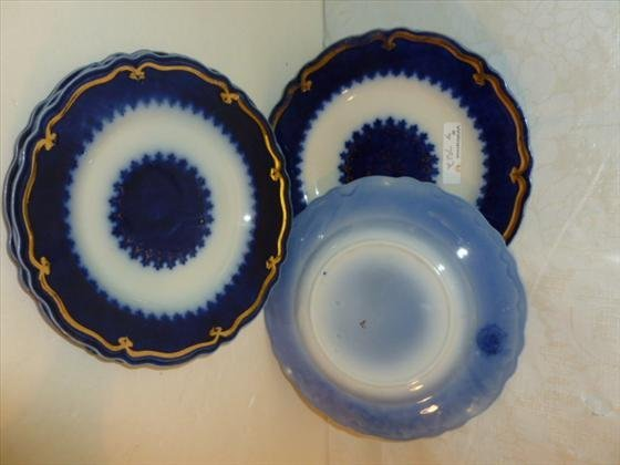 "5 flow blue plates-8"" dia.-W.H.Rindley England"