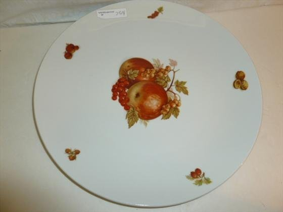 Large round platter with fruit and nut designs