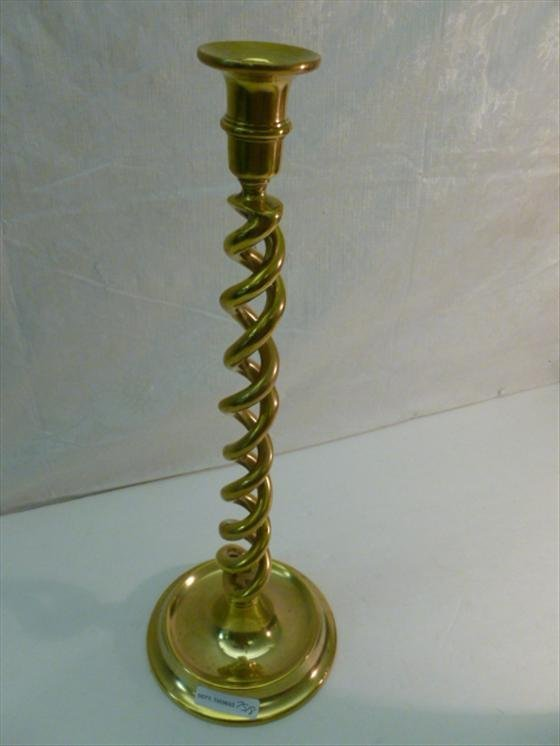 Brass twisted candle stack 16 tall