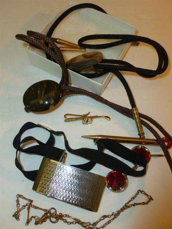 Small lot-Bennet bolo ties cuff inks lighter