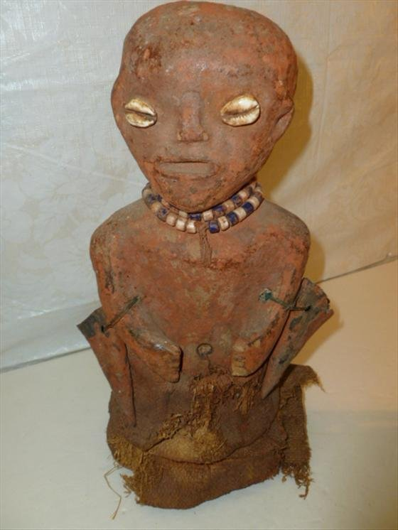Songye Fetish carved wood and burlap statue
