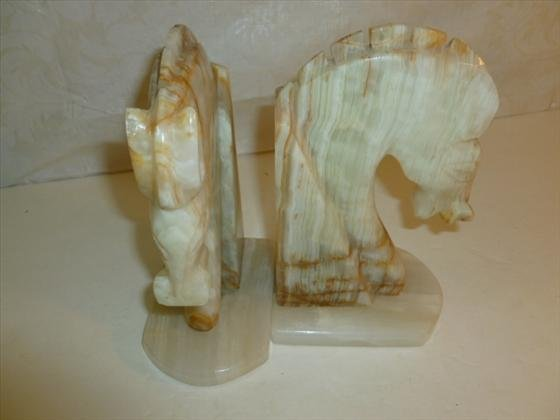 Pair marble or onyx horse head bookends