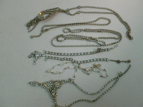 Nice lot of 6 rhinestone and crystal necklaces