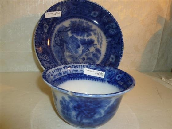 2 piece flow blue large cup and bowl RM & Co