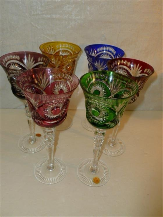 Set of 6 crystal wine stems-Made in Germany